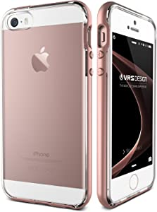 VRS Design [Crystal Bumper Series] Transparent Crystal Cover Clear Slim Thin Fit with Hard Drop Protective Bumper for Apple iPhone 5 / 5s / SE - [Steel Silver]