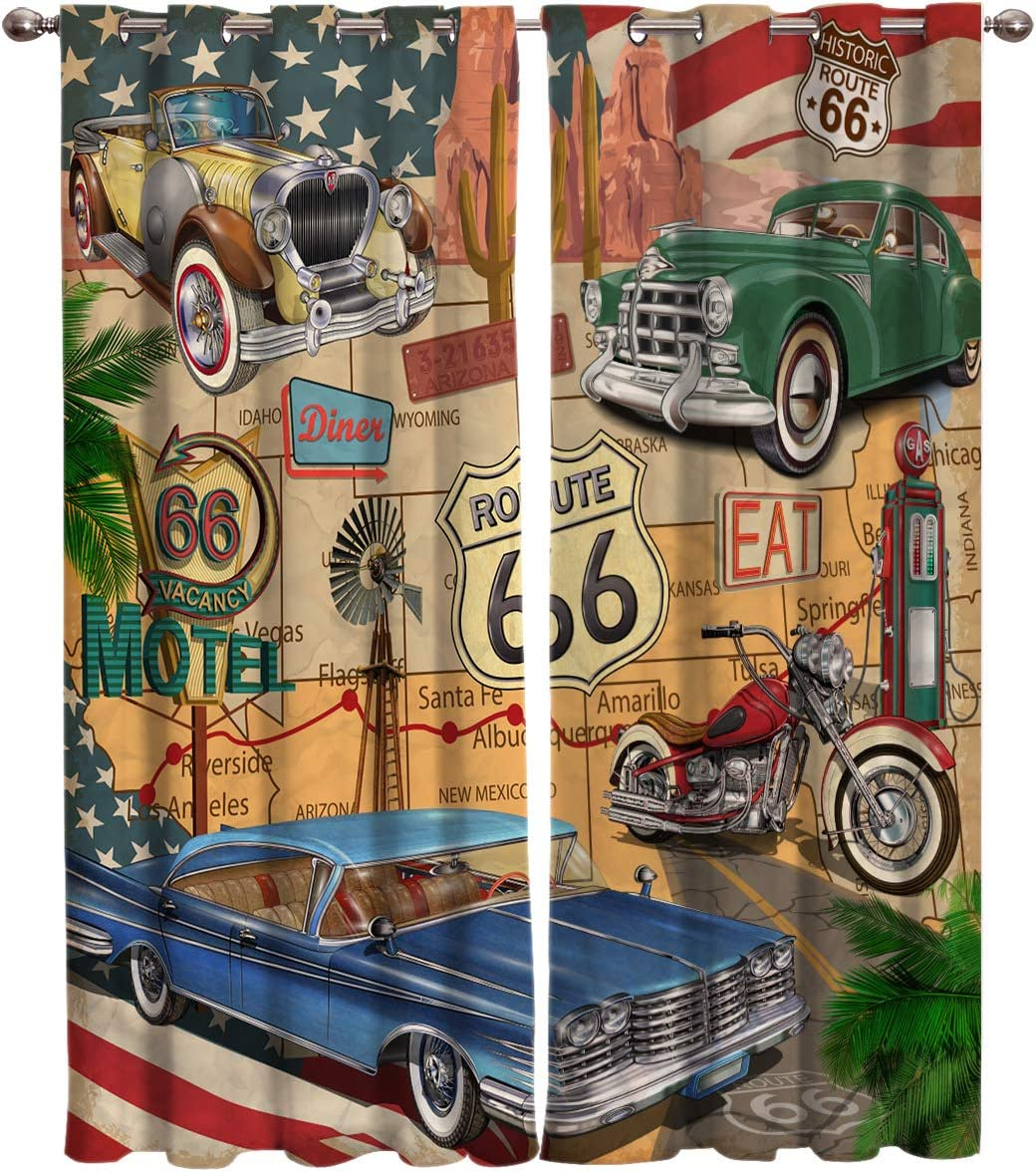 Window Curtain Vintage American Route 66 Diner Motorcycle Home Decor Draperies 2 Panels Set for Living Room Bedroom USA Historic Old Car 52 96Inches 2