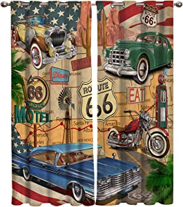 Home Decor Window Curtains, Old Classic Car Theme American Vintage Route 66 Diner Motorcycle - 2 Panel Window Treatment Set with Grommet Window Drapes Covering for Kitchen Cafe Living Room 55