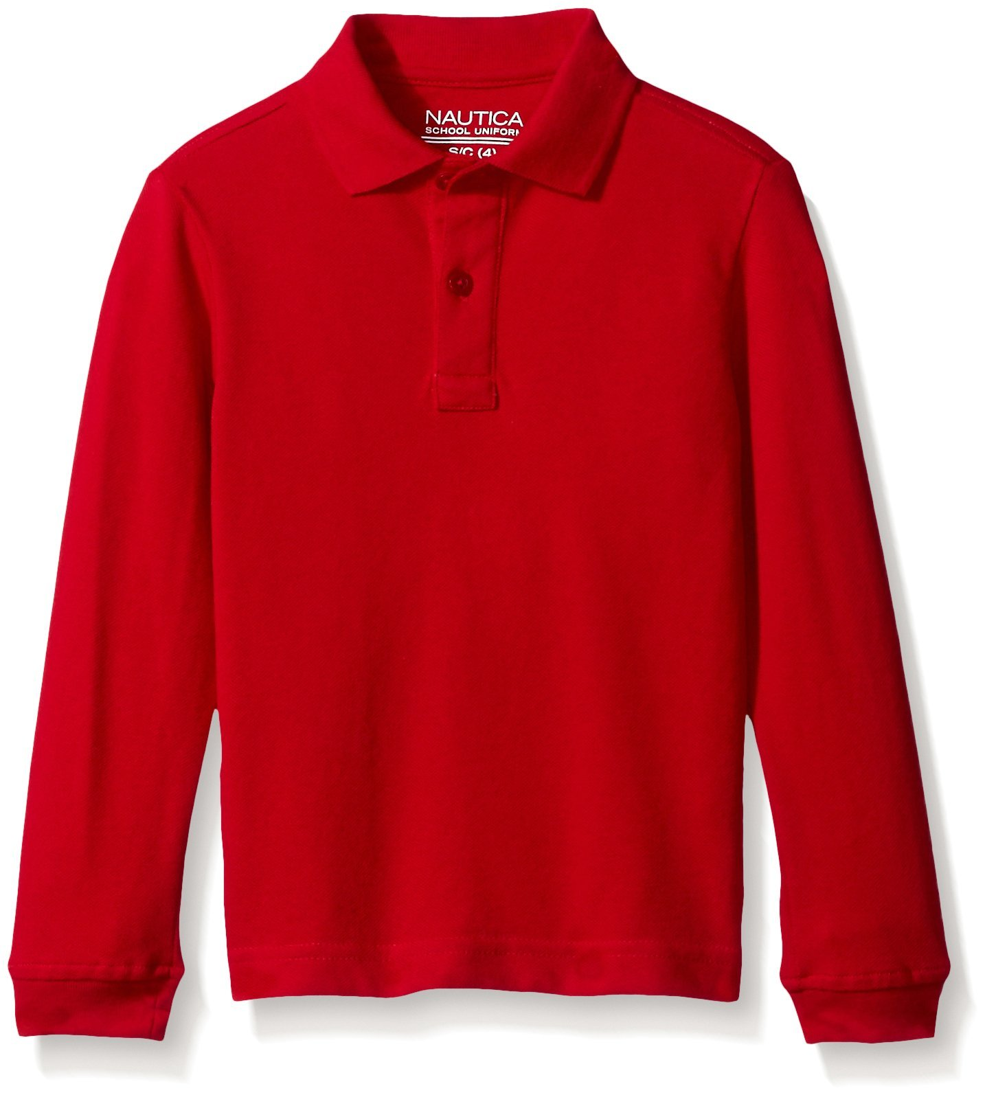 Nautica Little Boys' Uniform Long Sleeve Pique Polo, Red, X-Large/7