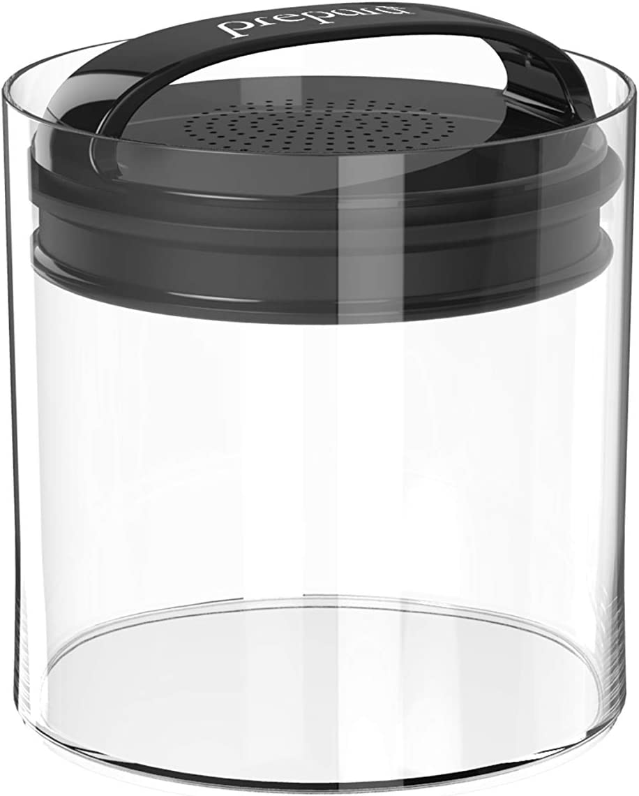 Prepara Evak Fresh Saver, Large-Short Airless Canister with Black handle, 1.8 Quart, Clear