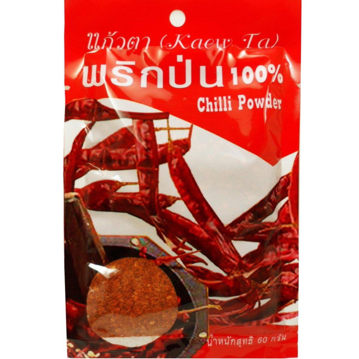 Dried Chilli Powder (Prik Pon) 100% Natural Very Spicy Thai Style Net Wt 60 G (2.11 Oz) Kaew-ta Brand X 2 Bags