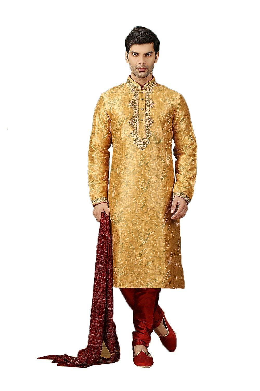 Da Facioun Art Silk Fabric golden Color Traditional Indian Mens wear K-5328-4835 K-5328-48352