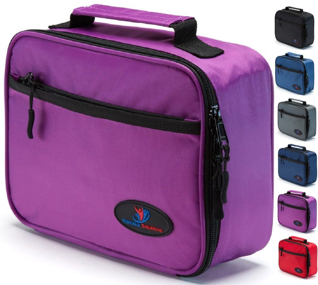 Kids Lunch Box | Lunch Boxes for Kids | Lunch Bags for Girls | Lunch Box for Girls | Girls Lunch Box | Small Lunch Bag | Insulated Leakproof Stain Resistant Zipper Pouch Mesh Pocket (Purple)