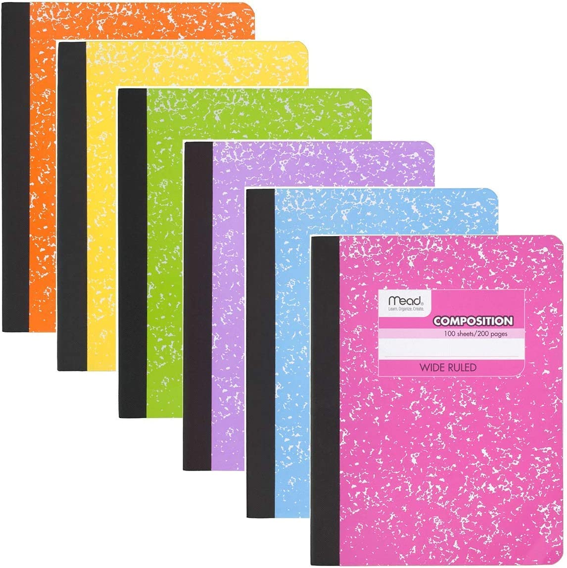 Colored composition notebooks.