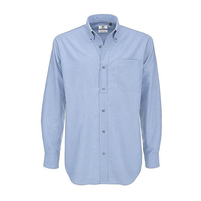B & C para hombre Oxford manga larga/hombre camisas Blanco blanco Small 4cIHf81y