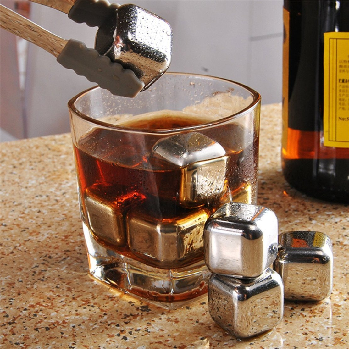 Jentay Stainless Steel Whiskey Stone 8 PCS Whiskey Stones Jentay Chilling Rocks Reusable Ice Cubes for Cooling Wine Drinks Beverage COMINHKPR135928