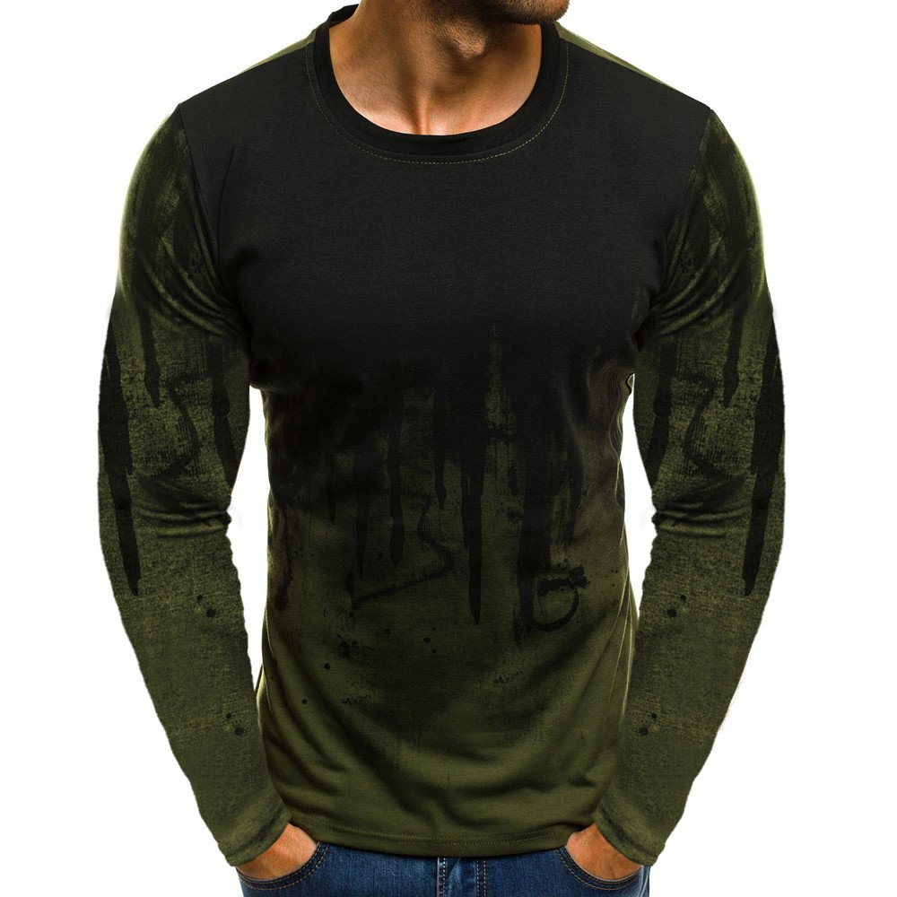DIOMOR Men Fashion Wild Gradient Color Long-Sleeve Beefy Muscle Basic Solid Blouse Tee Shirt Top Carnival Army Green