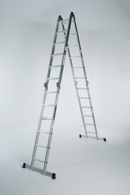 WORHAN 6,7 m multifunción plegable multiusos de aluminio escalera doble BIG bisagras estabilizadores escalera ks6, 7: Amazon.es: Bricolaje y herramientas