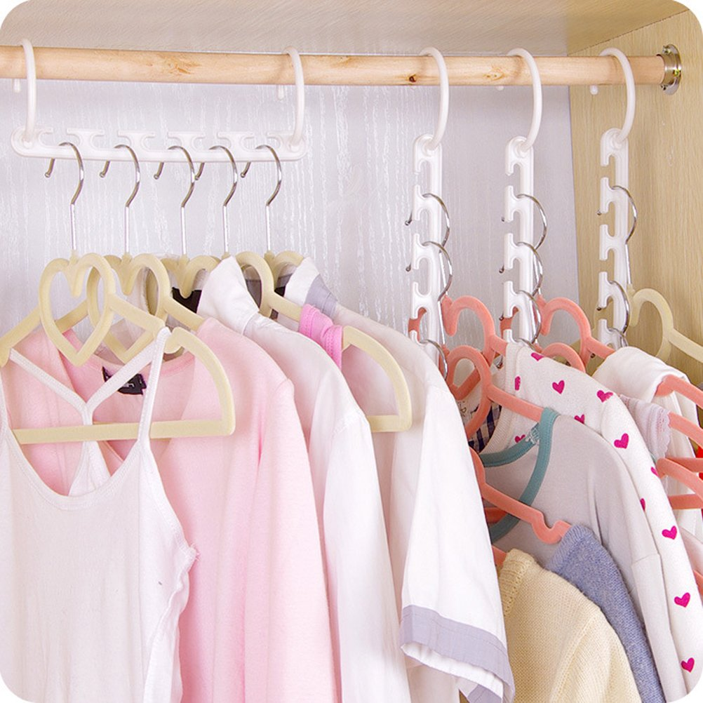 White 5PCS Practical Cascading Hangers with Slots Closet Hangers Rack Multi-function Closet Space Saver Clothing and Closet Storage Hanger