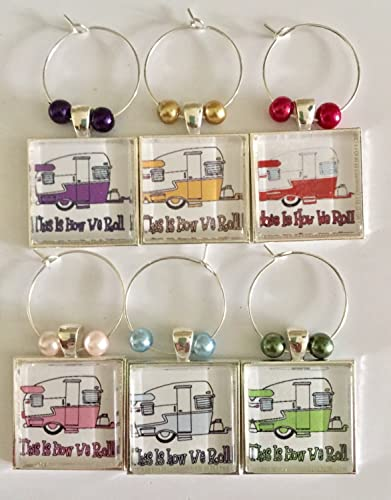 Vintage Shasta Camper Travel Trailer Wine Glass Charms, RV Wine
