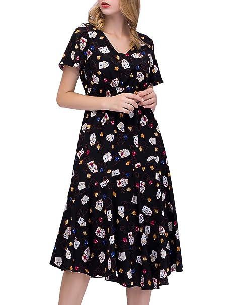 7cce295ad7c2 ... Vestito Donna Scollo V Estivo Bohemian Abiti Maxi da Spiaggia Elegante  Maniche Corte con Stampa Floreale Vestito da Partito  Amazon.it   Abbigliamento