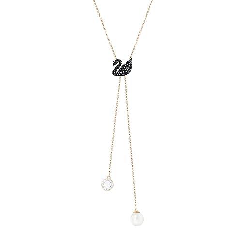 fabbricazione abile saldi prezzo più economico Swarovski Collana Iconic Swan Double Y, nero, placcato oro ...