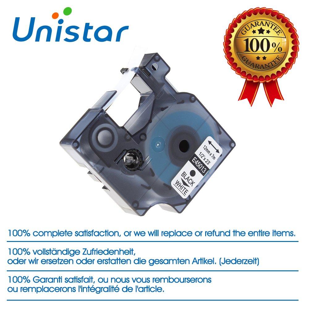 3 x D1 45013 S0720530 Negro sobre Blanco Cinta Cassette Cintas de Etiquetas Compatible para Dymo LabelManager 160 12 mm x 7 m
