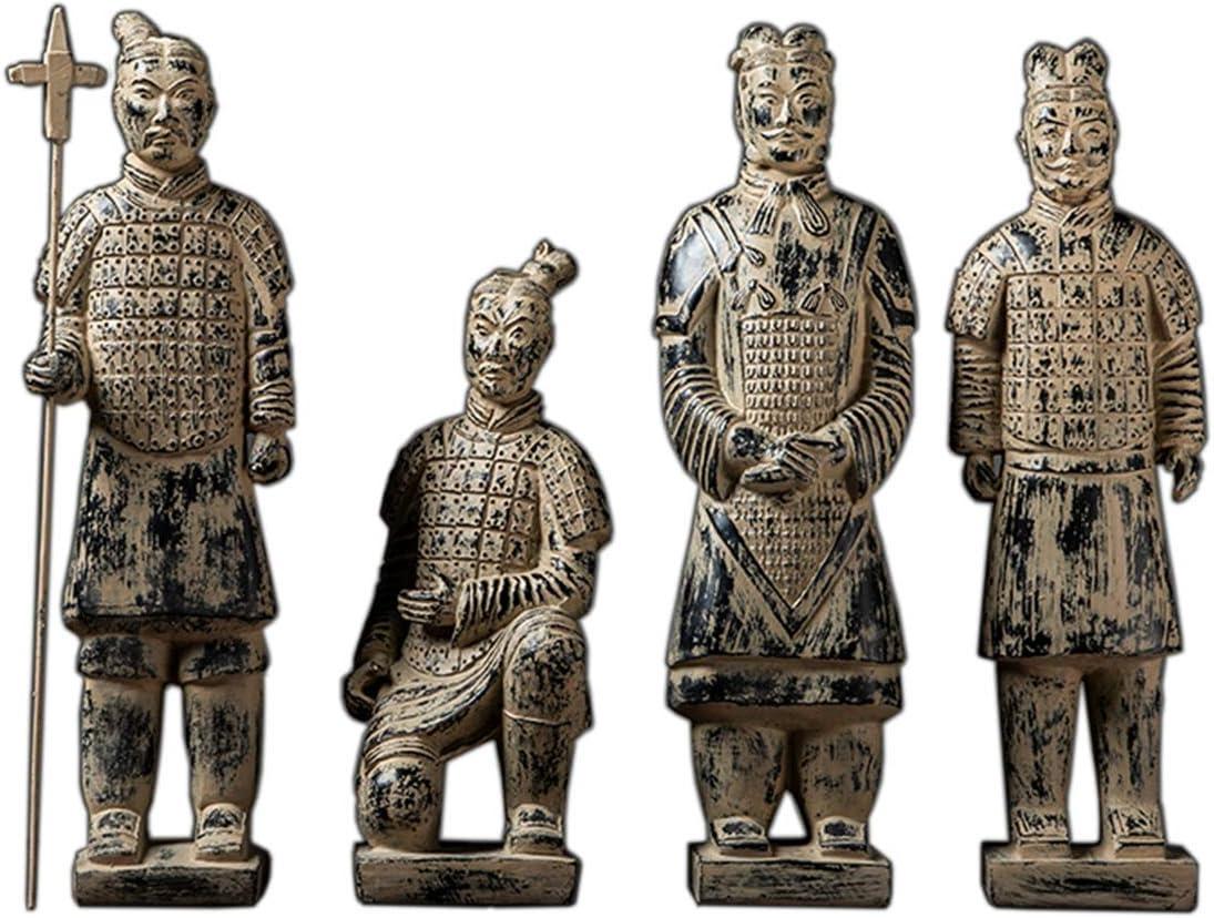 SDBRKYH Vintage Terracotta Warrior Decoration, Chinese Terracotta Warriors Relics Replica China Travel Souvenir Terracotta Model Statue Desktop Decoration 4Pcs