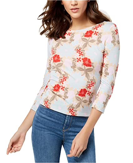 120d05e13e GUESS Women s Gillian 3 4-Sleeve Lace-Up Back Top (Hello Flowers Warm  Desert Multi