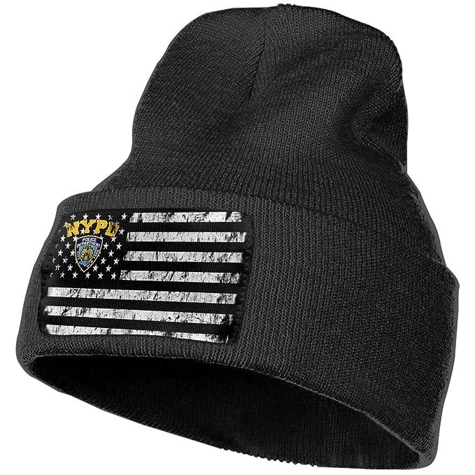 Xoshysowppp NYPD USA Flag Black Unisex Mens Womens Skull Knit Hat Cap Ski Snowboarding  Beanie Hats at Amazon Men s Clothing store  f1251eda6e0