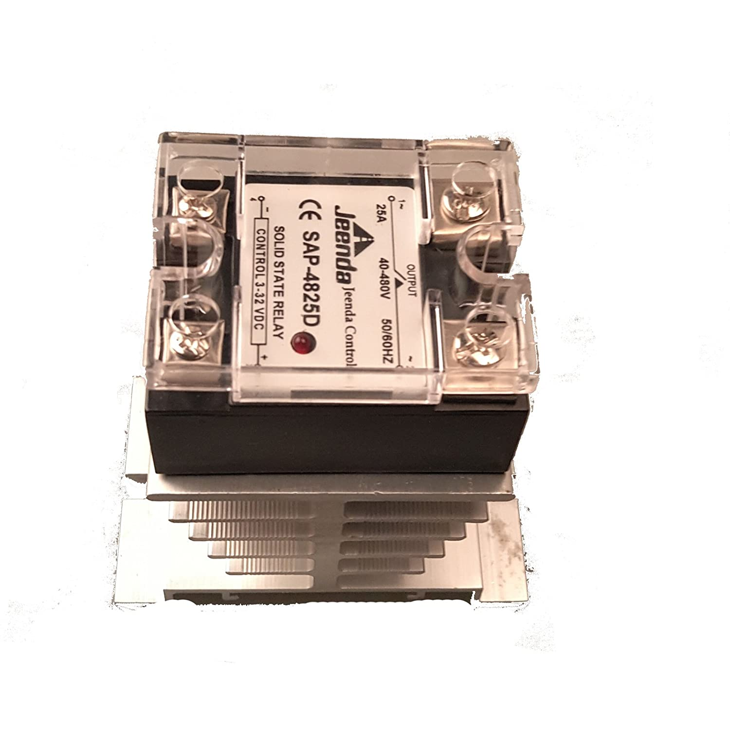 Holdwell Solid State Relay Ssr Dc Ac 25a 3 32vdc 40 480vac With Canada Heatsink For Crydom D4825d Control Module Amazon