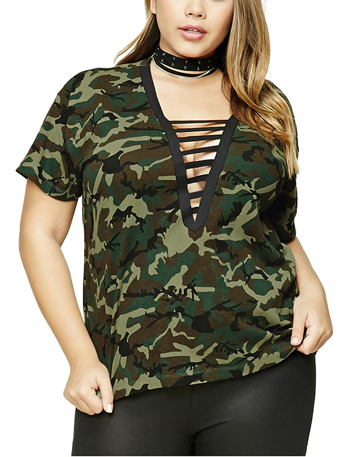 2c92d34c7879d5 HaoDuoYi Womens Plus Size Camouflage Lace Up Crisscross Front Top T Shirt  at Amazon Women's Clothing store: