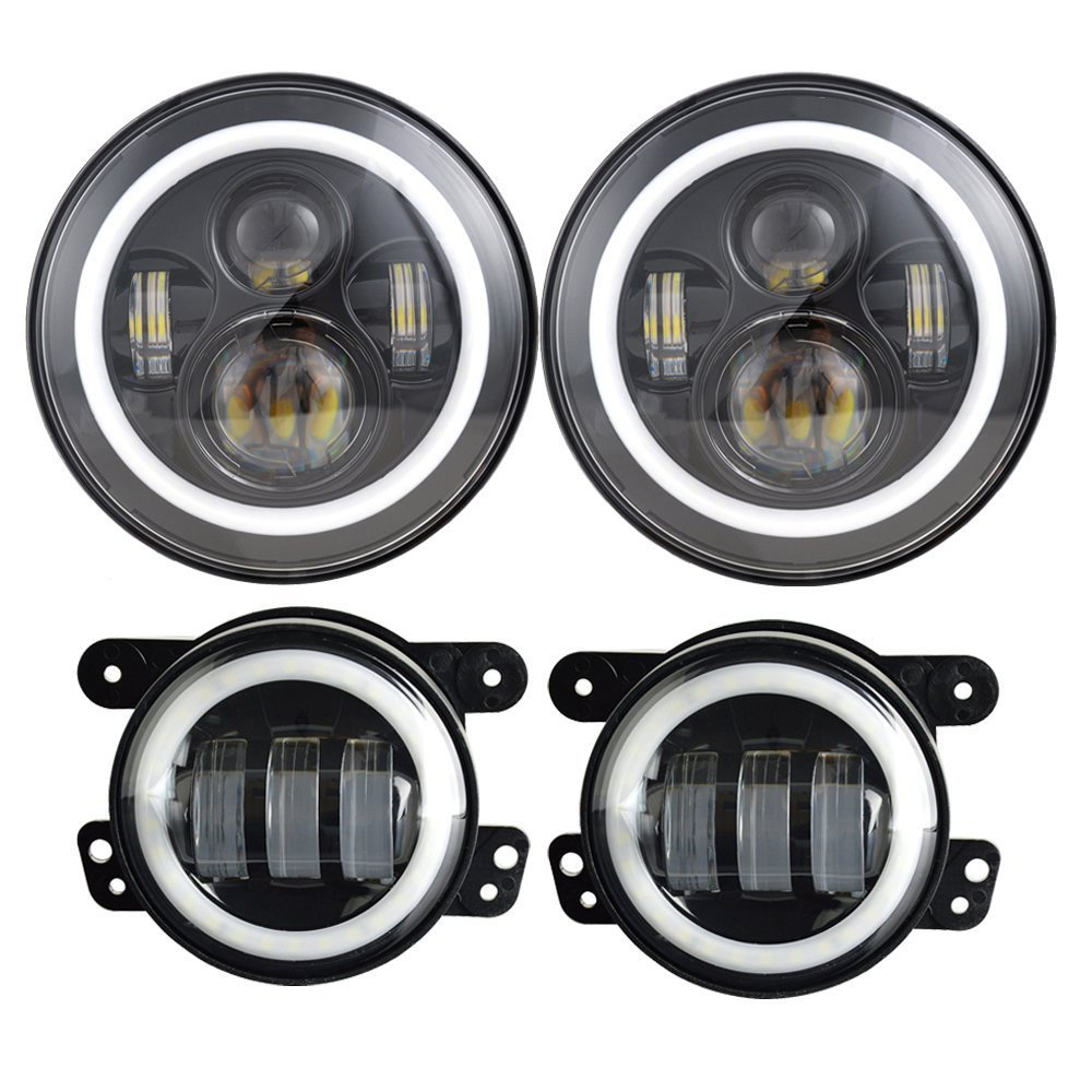 DOT Approved 7'' 60W Jeep Wrangler Headlights, Daymaker LED Headlights with White DRL/Amber Turn Signal + 4 ''Cree LED Fog Lights for Jeep Wrangler 97-2016 JK TJ LJ Sahara Rubicon Bobel