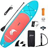 "FAYEAN Inflatable Stand Up Paddle Board Round Board 10'30""6"" Thick Includes Pump, Paddle, Backpack, Coil Leash,Fin and Univer"
