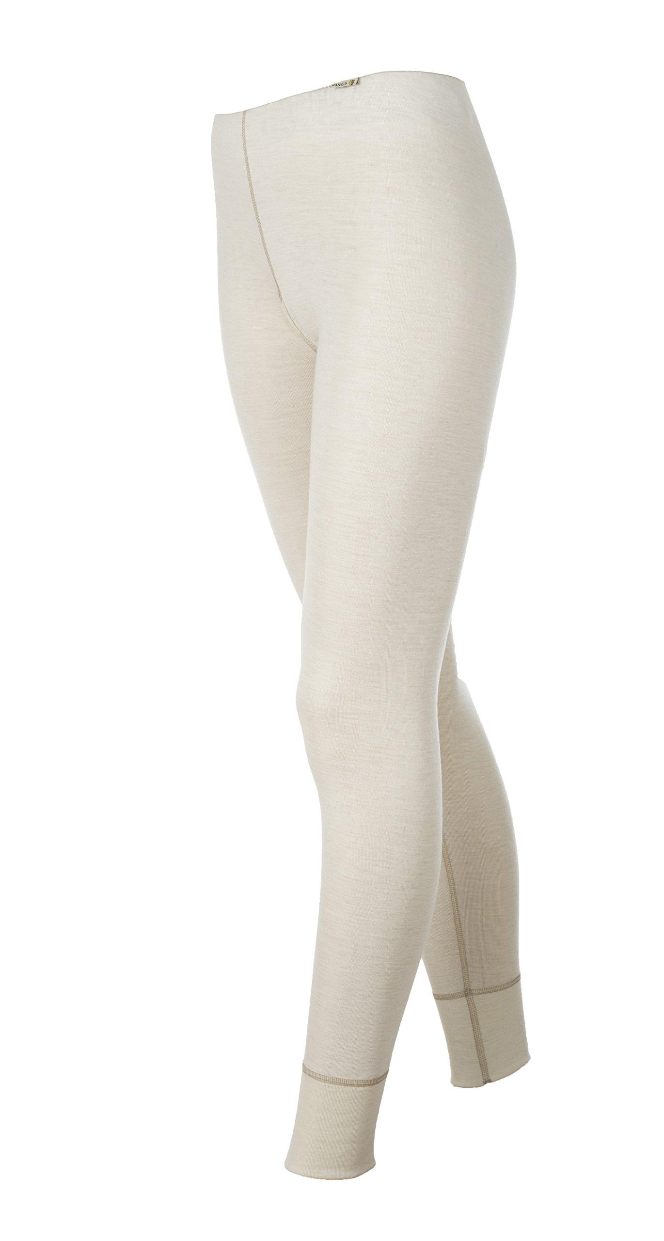 Janus 100% Merino Wool Women's Leggings Machine Washable Made in Norway. (X-Small, Natural)