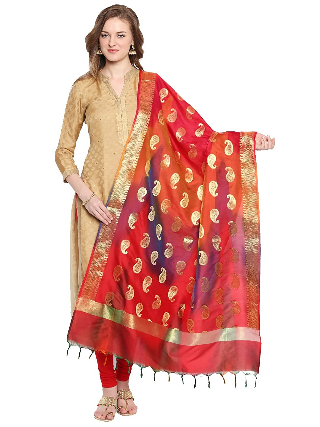 Dupatta Bazaar Woman's Red & Gold Shaded Banarasi Silk Dupatta DB1504