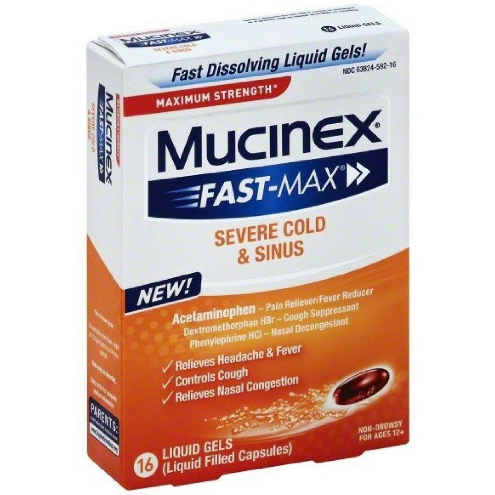 Mucinex Fast-Max Liquid Gels - Congestion & Headache 16 Ct. (Pack of 12)