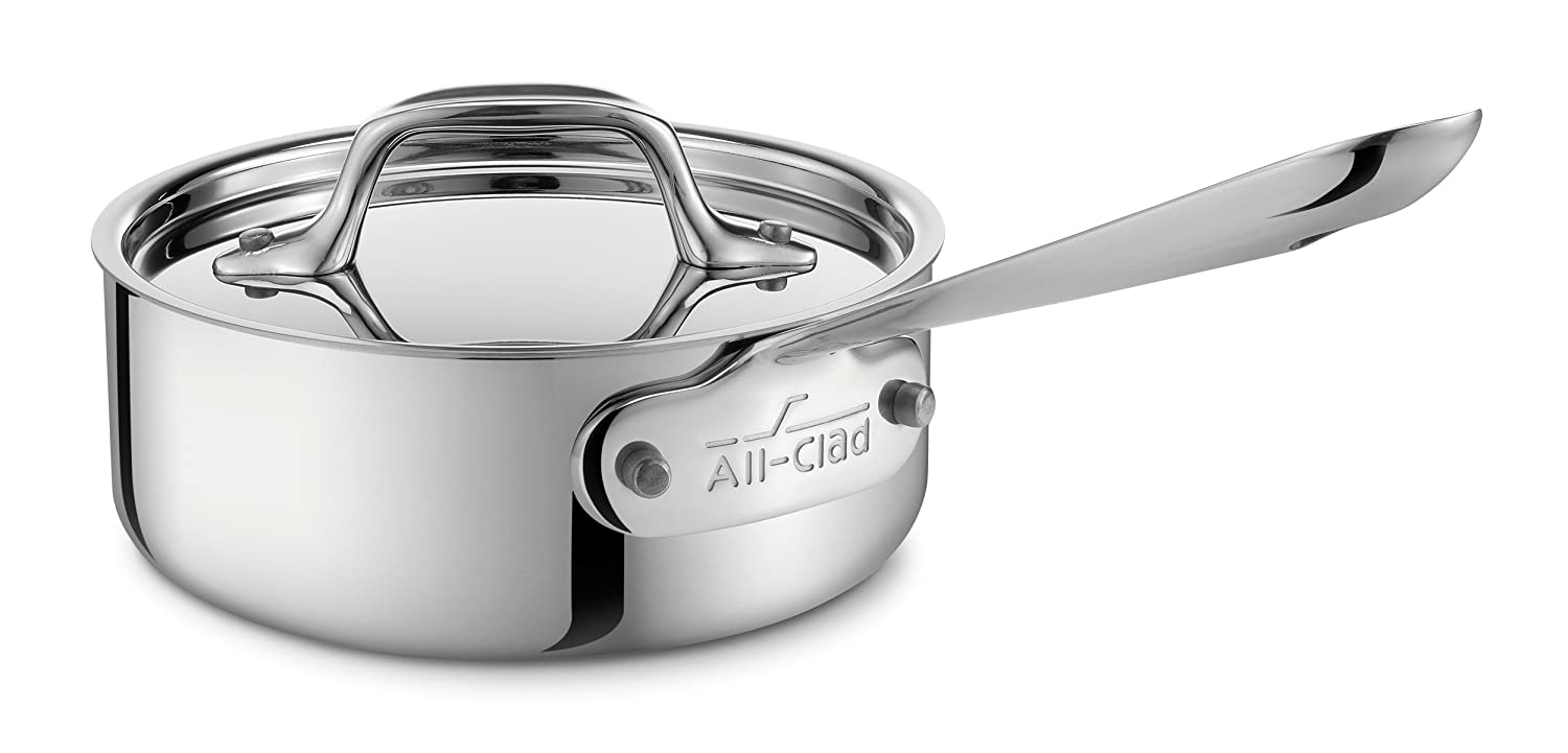 All-Clad 4201 Stainless Steel Tri-Ply Bonded Dishwasher Safe Sauce Pan with Lid / Cookware, 1-Quart, Silver