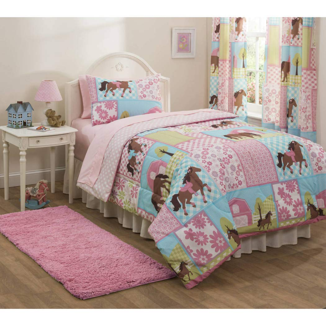 Girls, Pony, Country Horse Full Comforter, Sheets & Shams Set (7 Piece Bed In A Bag)