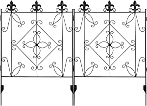 MIXXIDEA Garden Fence Border 44in x 6ft Metal Fencing Folding Panels Wrought Iron Fence Garden Landscape Edging Lawn Border Decorative Gardening Fence for Flower Bed, Pets, Outdoor (2 Pack-Black)