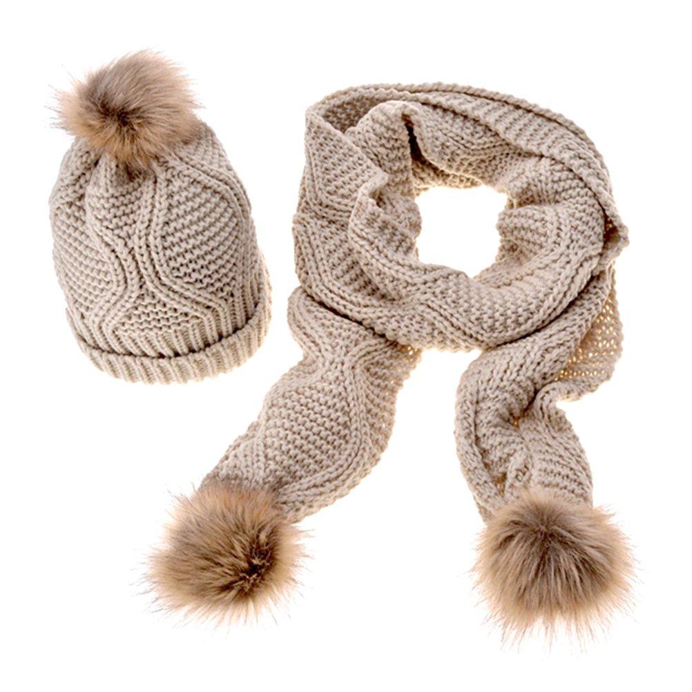 Jelinda Women Autumn Winter Knitted Hat and Scarf Set (Beige)