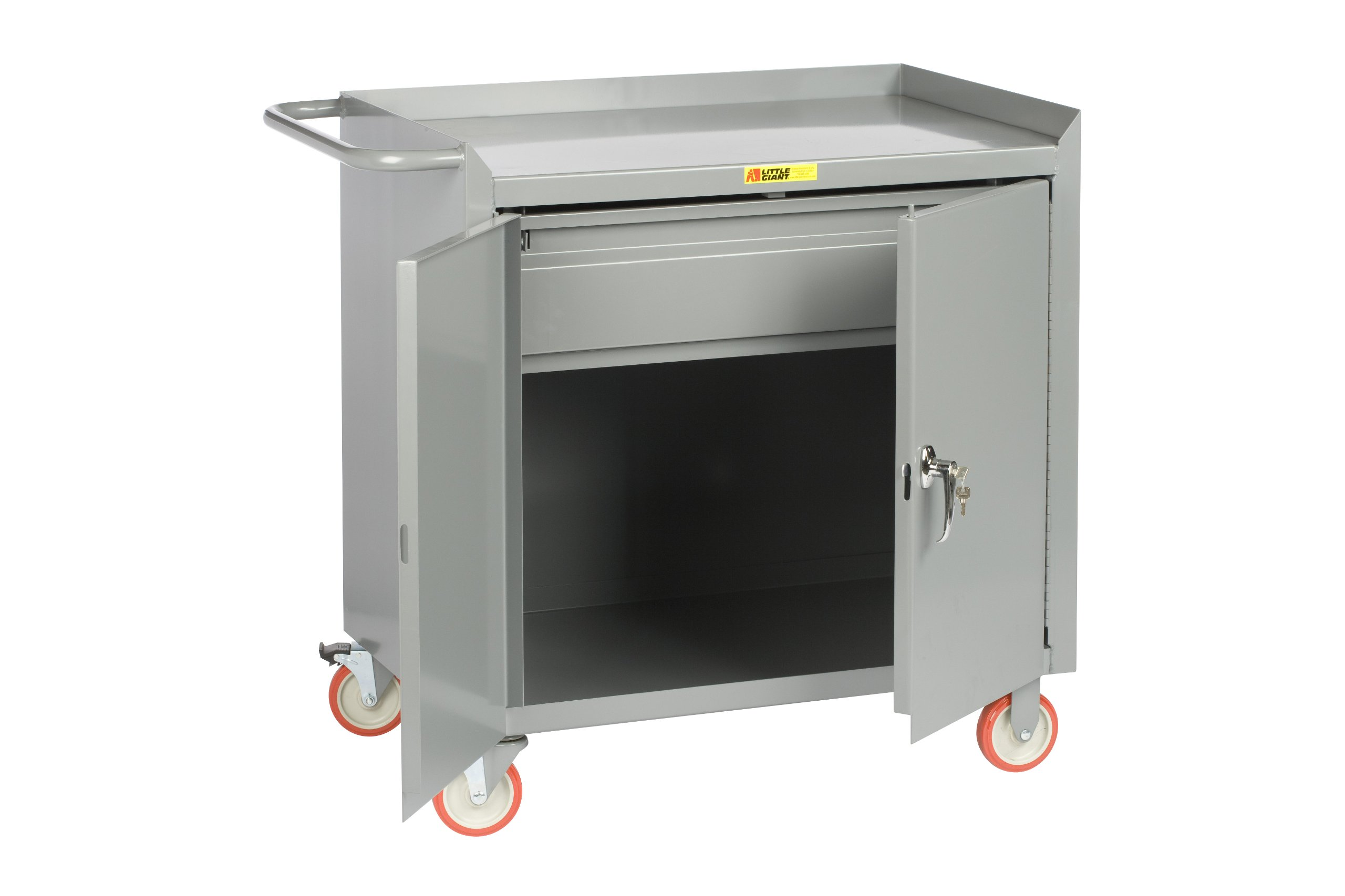 Little Giant MC2D-2436-HDTL Steel Mobile Bench Cabinet with Doors and Heavy Duty Drawer, Gray, 1200 lbs Load Capacity, 38'' Height x 24'' Width x 36'' Length