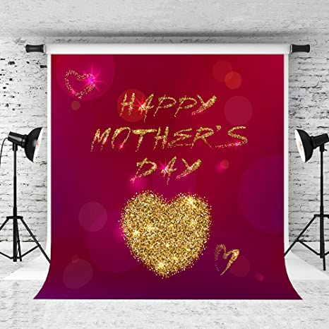 Kate 5x7ft Mothers Day Backdrop For Photographers Golden Heart Red Background Happy Backdrops
