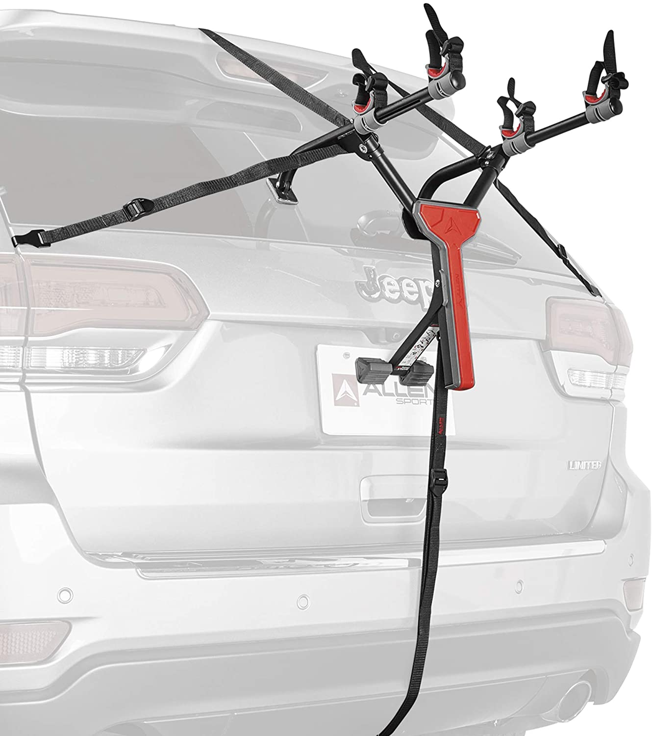A photo of a car's trunk where a black bike rack fully-assembled is attached. Two bike holders and strong straps hold the rack in place.