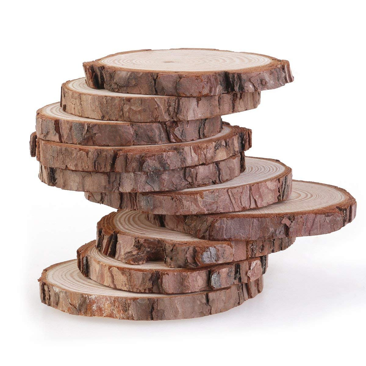 RayLineDo/® Unfinished Natural Wood Slices Round Log Discs with Tree Bark Wood Pieces 5-6cm Pack of 20 for DIY Craft Wedding