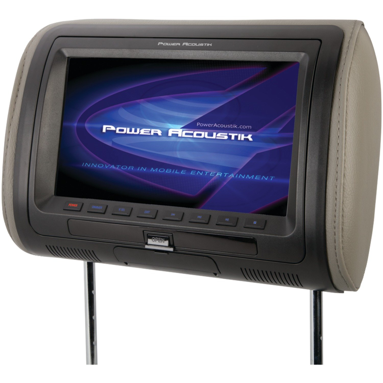 Power Acoustik 7'' Universal Headrest Monitor With Ir & Fm Transmitters (HDVD-71HD)