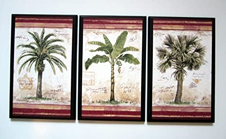 Merveilleux Palm Trees Set Of 3 Plaques Tropical Spa Bathroom Wall Decor Signs Palms  Bath Sunroom
