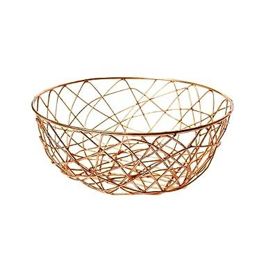 Alchemade Copper Wire Storage Basket 11  - Multi-Purpose Office Kitchen Organizer Holder Bin - Contemporary Industrial Style - Made