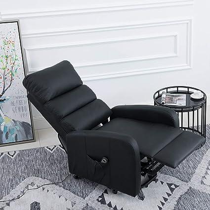 Amazon.com: Infurnise Lift Recliner Chair PU Black Sofa, 8 ...