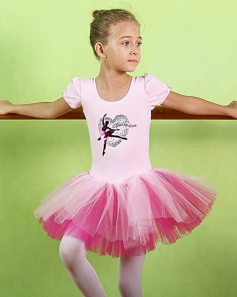 ec271ea43 Amazon.com  BAOHULU Toddler Girls Leotards Short Sleeve Ballet Tutu ...
