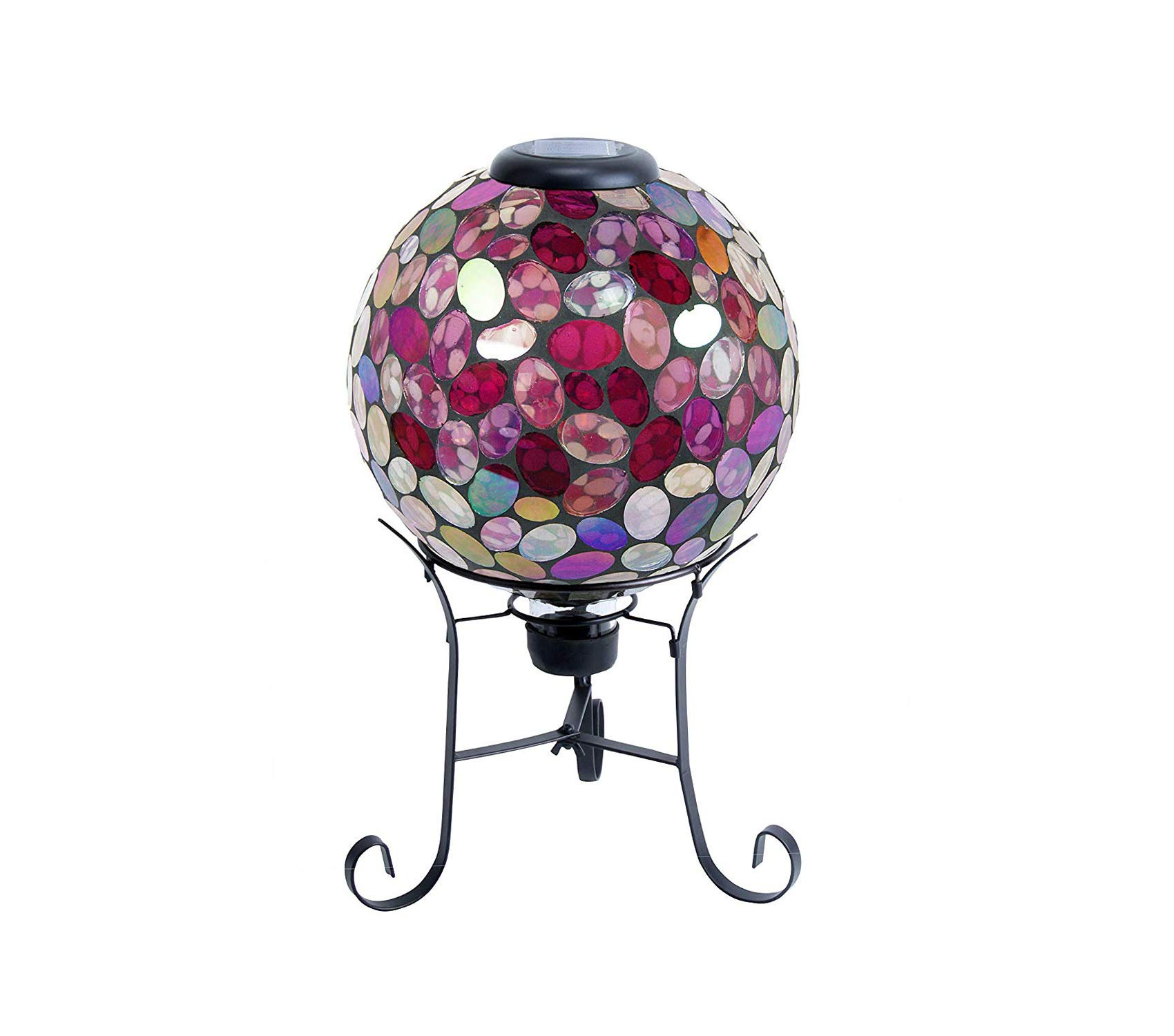 Outdoor Garden Backyard Décor Corporation Solar Gazing Globe with LED Lights - Mosaic Sphere with Metal Stand - Outdoor Yard Art Decor - Violet - 10'' x 10'' x 17''