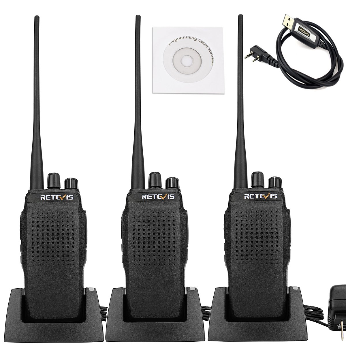 Retevis RT26 10W UHF Two Way Radio 3000 mAh High Power 400-470MHz VOX Scan Walkie Talkies(3 Pack) and Programming Cable