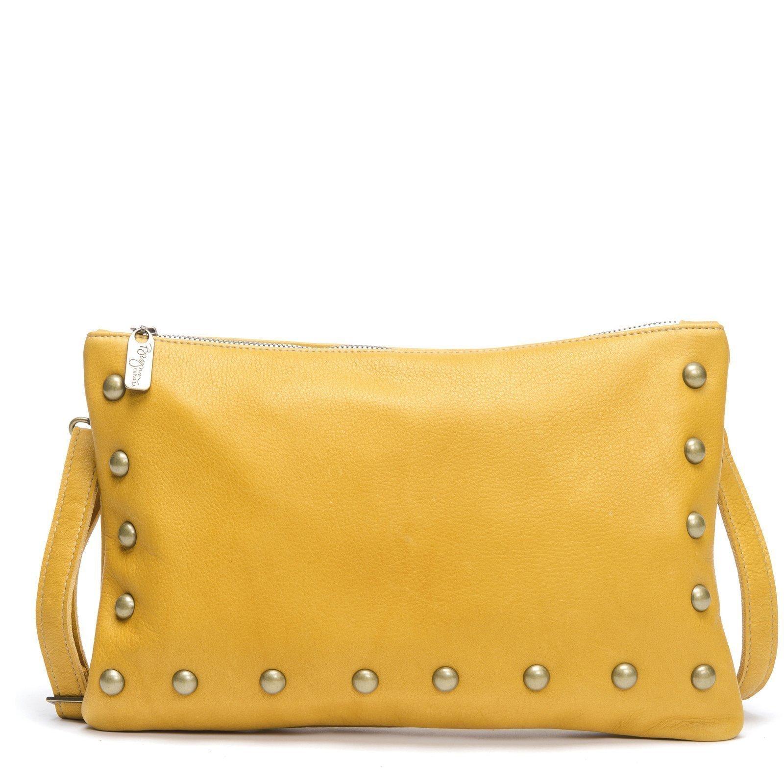 Mustard Yellow Italian Cowhide leather Crossbody Clutch