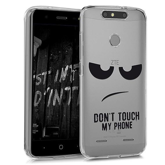 kwmobile Funda para ZTE Blade V8 Mini - Carcasa de [TPU] para móvil y diseño Dont Touch my Phone en [Negro/Transparente]