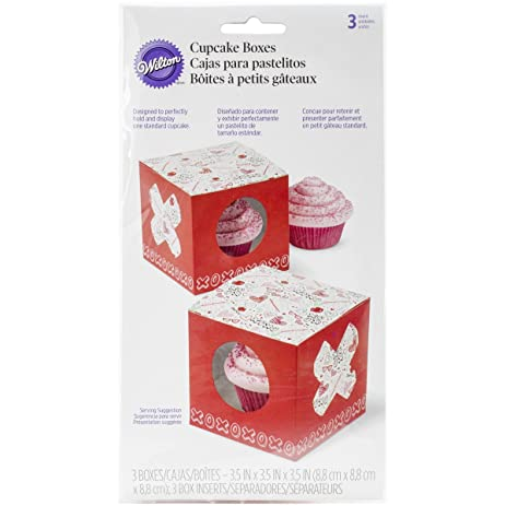 Wilton 415-2803 3 Count Valentines Day Doodles Individual Cupcake Boxes, Assorted