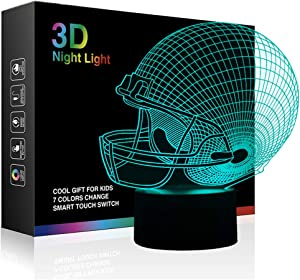 Football Helmet 3D Lamp Optical Illusion Light, Ticent 7 Colors Changing Touch Control Soccer Night Light for Christmas Gifts