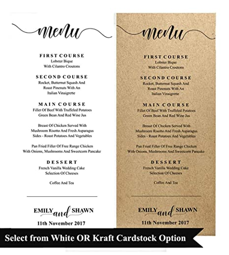 be4df1246514d 20 Personalized Wedding Menu Cards 9X4 Inches High Quality Custom ...