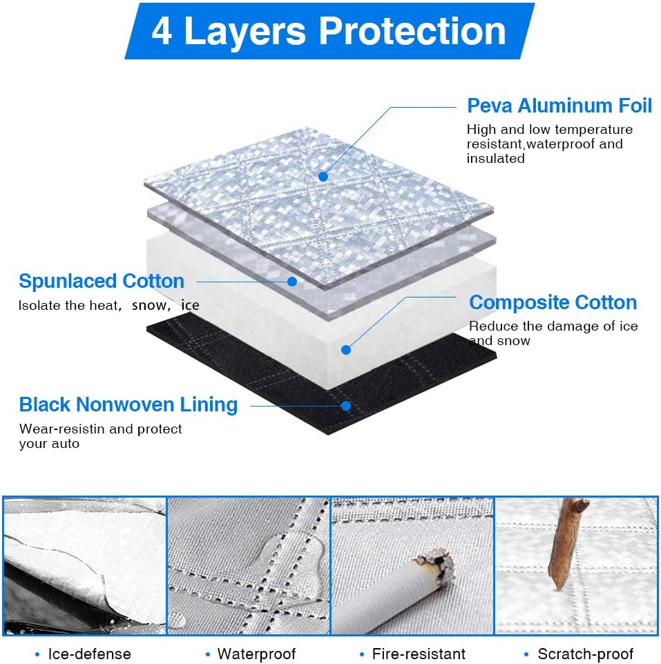 Airsnigi Car Windshield Snow Cover,Windshield Snow ice Cover with 7 Magnets,Sun Protection Waterproof Windproof Car Snow Covers,Extra Large Windscreen Cover Fit for Most Car,Trucks,Vans,SUV