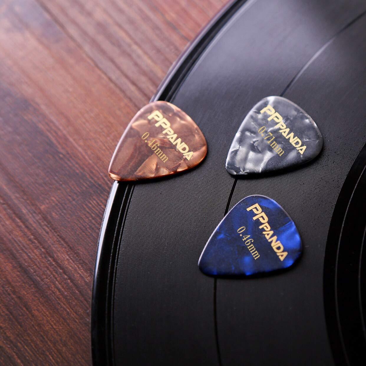 or Bass Guitar Thin PPpanda Guitar Picks 24 pcs Guitar Plectrums for Your Electric Acoustic Medium,0.46 0.71 mm
